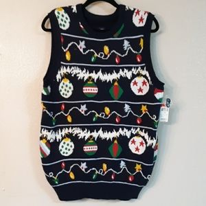ROUTE 66 christmas Light and bult knit vest M